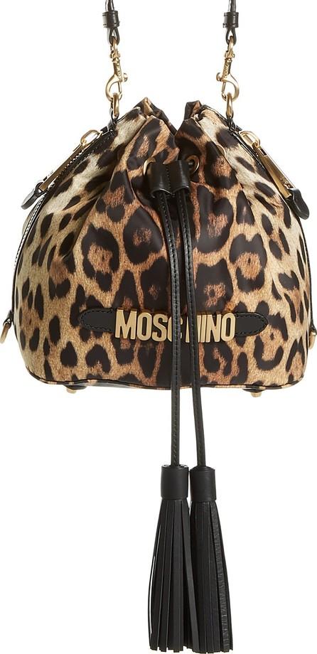 Moschino Leopard Print Nylon Convertible Bucket Bag