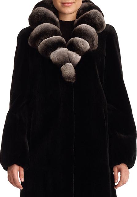 Gorski Sheared Mink Fur Stroller Jacket with Chinchilla Fur Collar