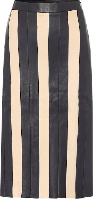 Stouls Astridou striped leather midi skirt