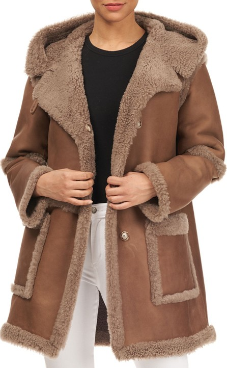 Christia Hooded Lamb Shearling Stroller Jacket