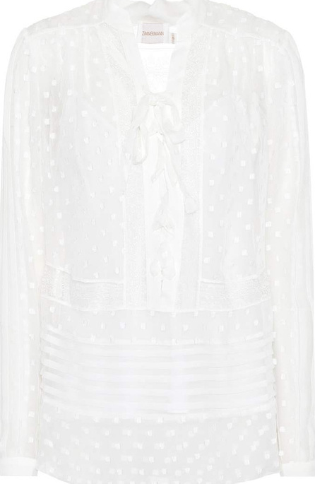 Zimmermann Eyelet tie-neck blouse