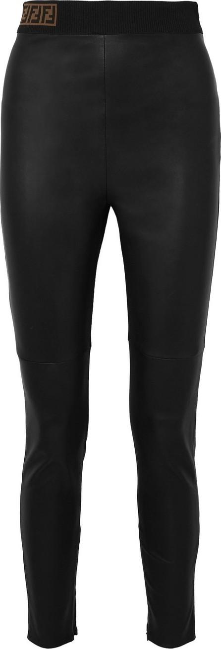 Fendi Intarsia-trimmed leather skinny pants