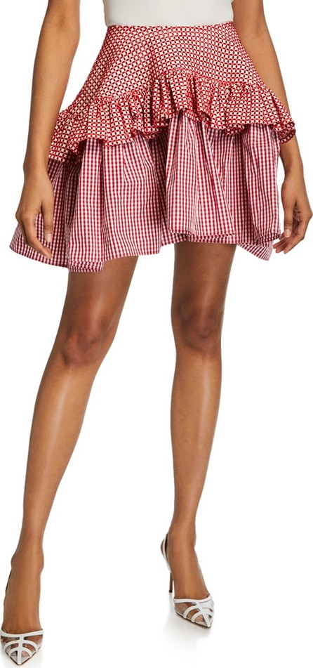 Anaïs Jourden Embroidered Faux-Leather Gingham Ruffle Skirt