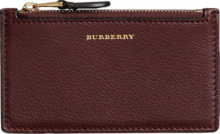 Burberry London England Two-tone Leather Zip Card Case