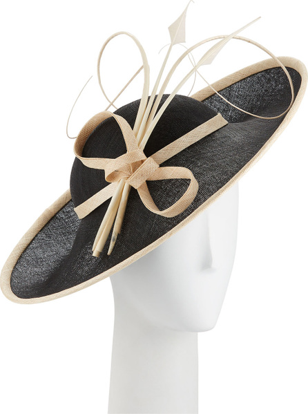 Rachel Trevor Morgan Two-Tone Side Sweep Straw Hat w/ Feather Trim