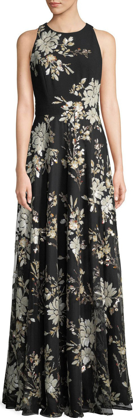 Carmen Marc Valvo Sleeveless Floral-Sequin Gown
