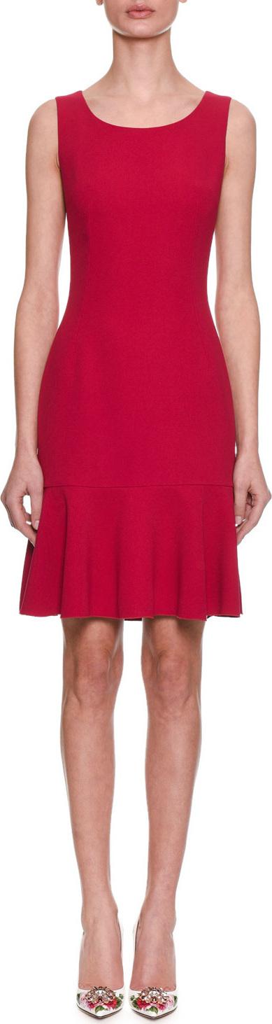Dolce & Gabbana Sleeveless Scoop-Neck Fitted Daytime Dress w/ Flutter Hem