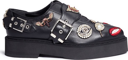 Alexander McQueen Mixed Obsession charm leather monk strap shoes