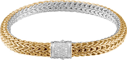 John Hardy Classic Chain Gold & Silver Medium Reversible Bracelet with Pave Diamond Clasp