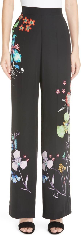 Etro Largo Floral Print Silk Pants