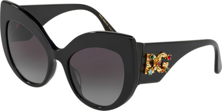 Dolce & Gabbana Acetate Cat-Eye Sunglasses w/ Crystal & Spike Logo