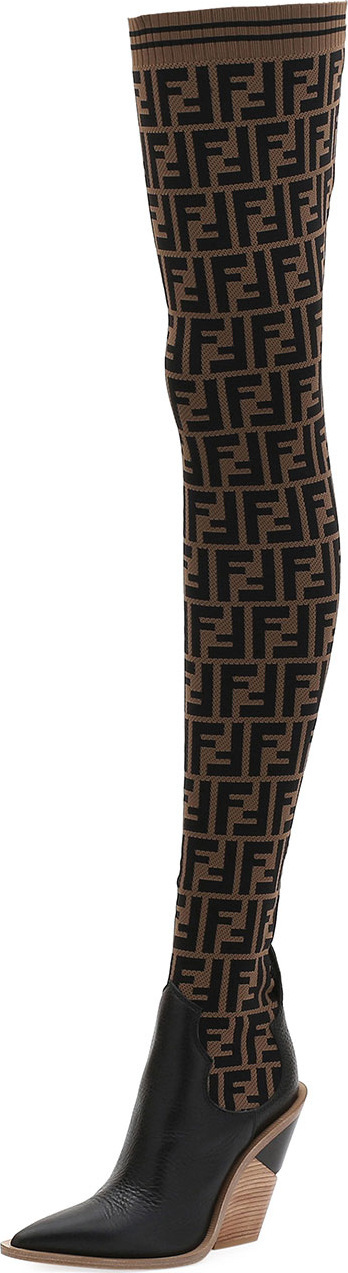 Fendi FF Knit Over-The-Knee Boot