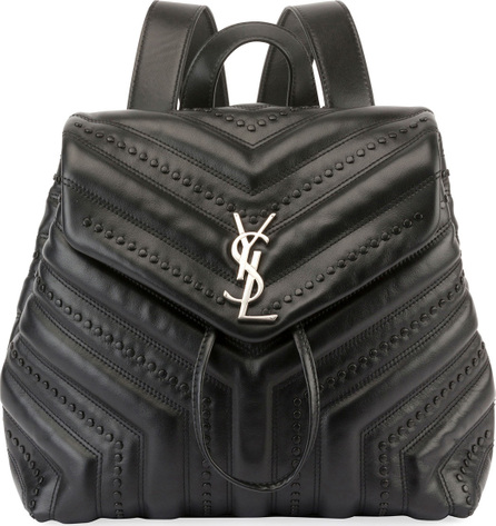 Saint Laurent Loulou Monogram YSL Small Quilted Black Studded Leather Backpack