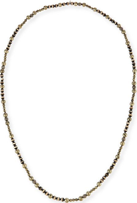 Hipchik Couture Uma Striped Bead & Pyrite Necklace