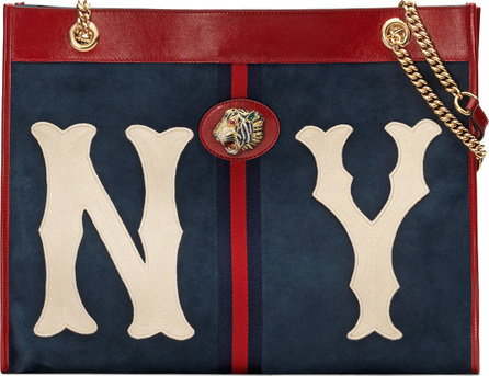 Gucci Linea Tiger Large Suede Tote Bag with NY Yankees MLB Patch