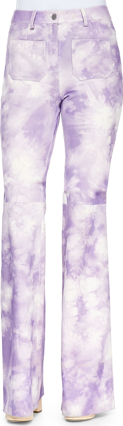 Michael Kors Collection Tie-Dye Leather Bell-Bottom Pants, Wisteria