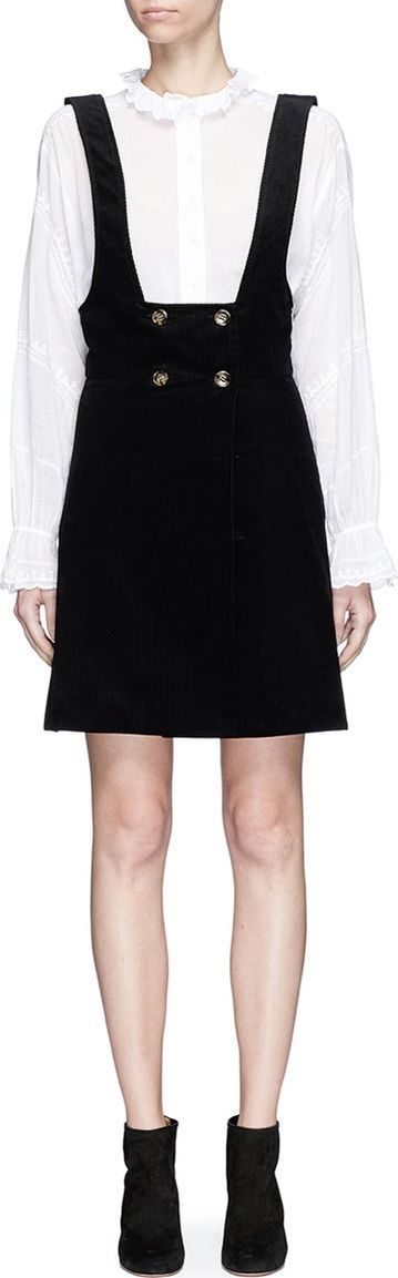 Alexa Chung Double breasted corduroy pinafore