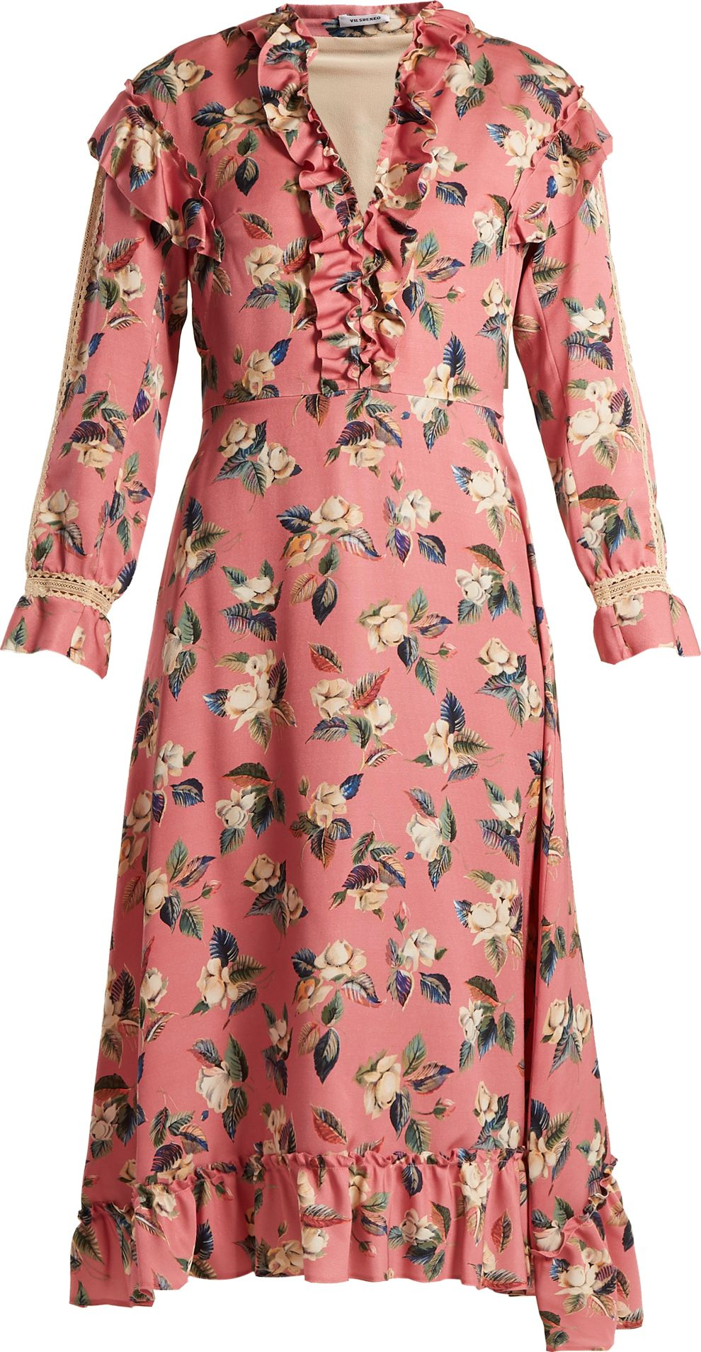 Vilshenko - Palasha floral-print wool and silk-blend dress