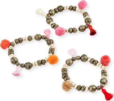 Hipchik Couture Bella B Mixed Pompom Bracelet Set