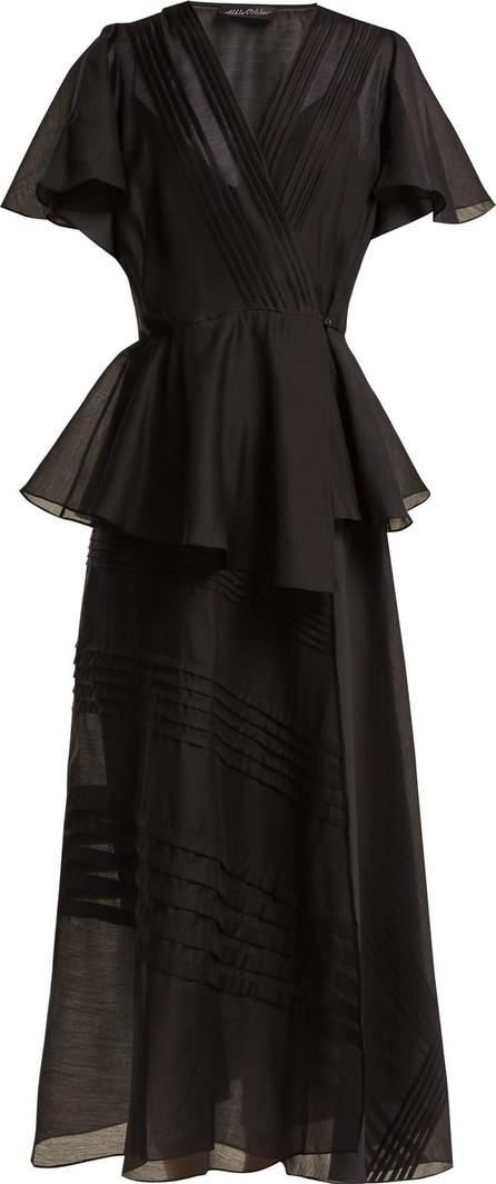 Anna October Pleated organza wrap midi dress