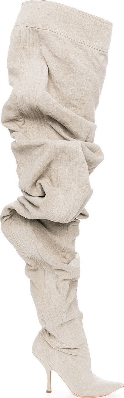 Y / Project Nude Draped 111 Linen Over-The-Knee Boots
