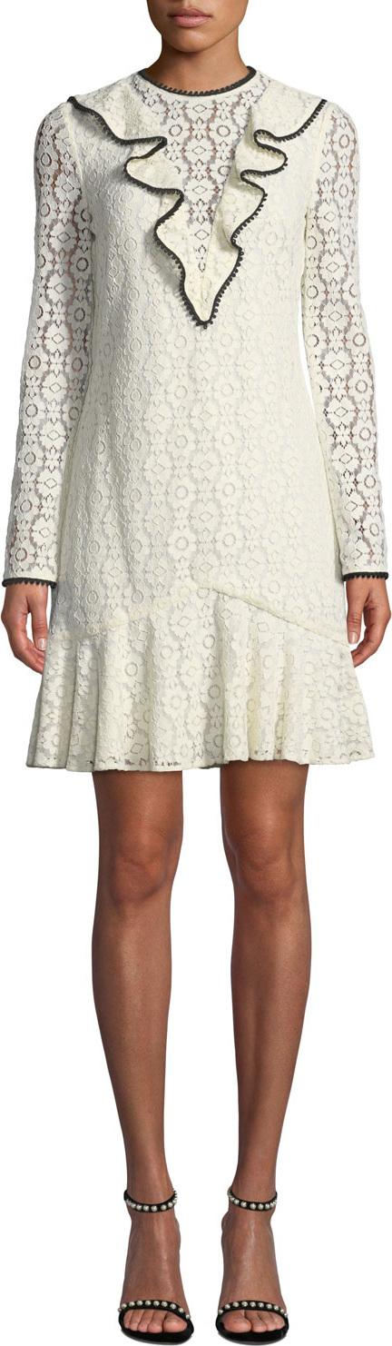 ML Monique Lhuillier Long-Sleeve Lace Dress w/ Ruffle Front