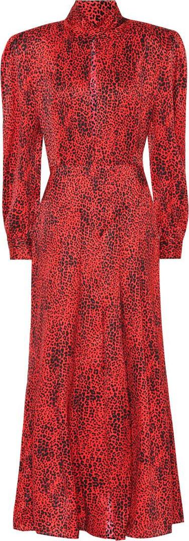 Alessandra Rich Leopard silk jacquard dress