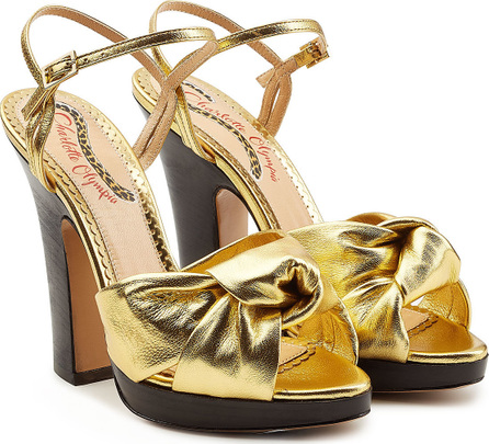Charlotte Olympia Farrah Metallic Leather Platform Sandals