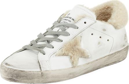 Golden Goose Deluxe Brand Superstar Leather Platform Low-Top Sneakers with Fur