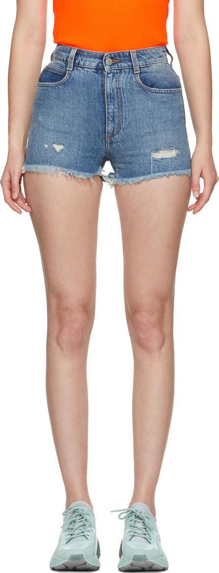 Stella McCartney Blue Denim Frayed Shorts