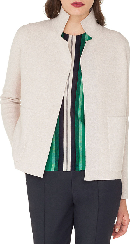 Akris Open-Front Placed-Stripe Double-Face Cashmere-Knit Cardigan