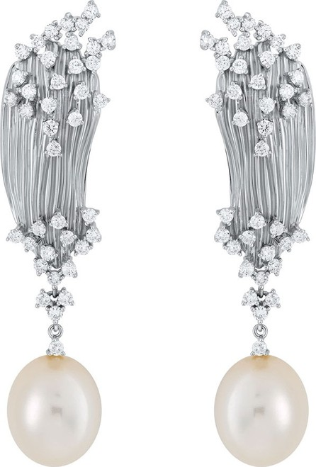 Hueb Plisse 18k White Gold Diamond & Pearl Earrings