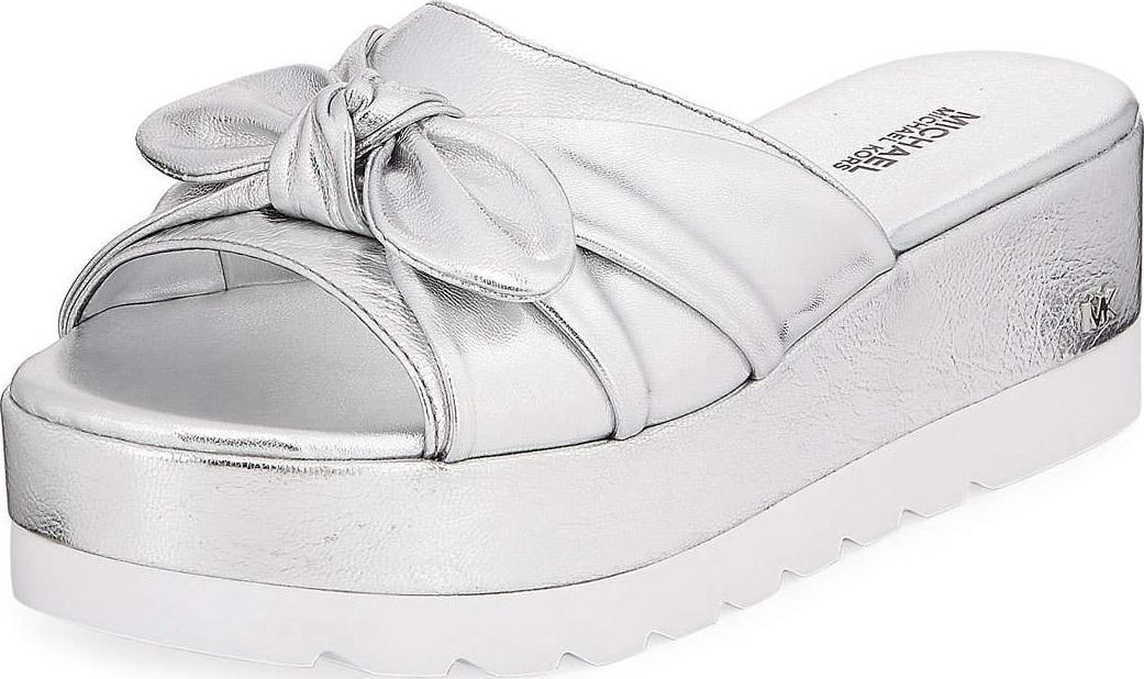 753615b97293 MICHAEL MICHAEL KORS Pippa Metallic Leather Platform Slide Sandal with Bow