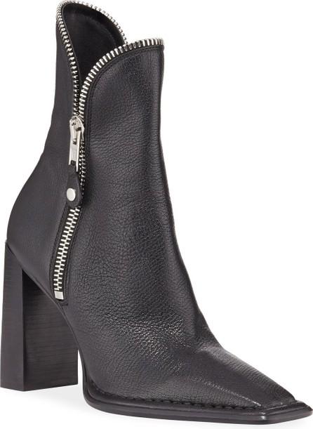 Alexander Wang Lane Block-Heel Leather Zip Booties  Black