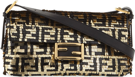 Fendi Baguette FF Paillette and Calf Shoulder Bag