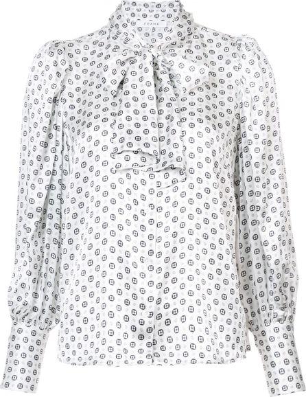 FRAME DENIM printed tie neck blouse