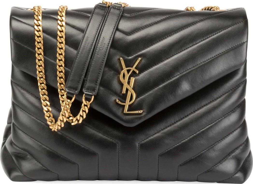 b7c3e1b75cf Saint Laurent Loulou Monogram YSL Medium Quilted V-Flap Chain Shoulder Bag