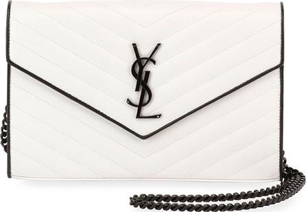 Saint Laurent Matelassé Monogram Small Two-Tone Wallet on Chain