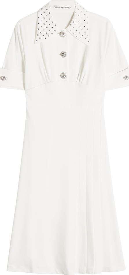 Alessandra Rich Crepe Dress with Embellishments