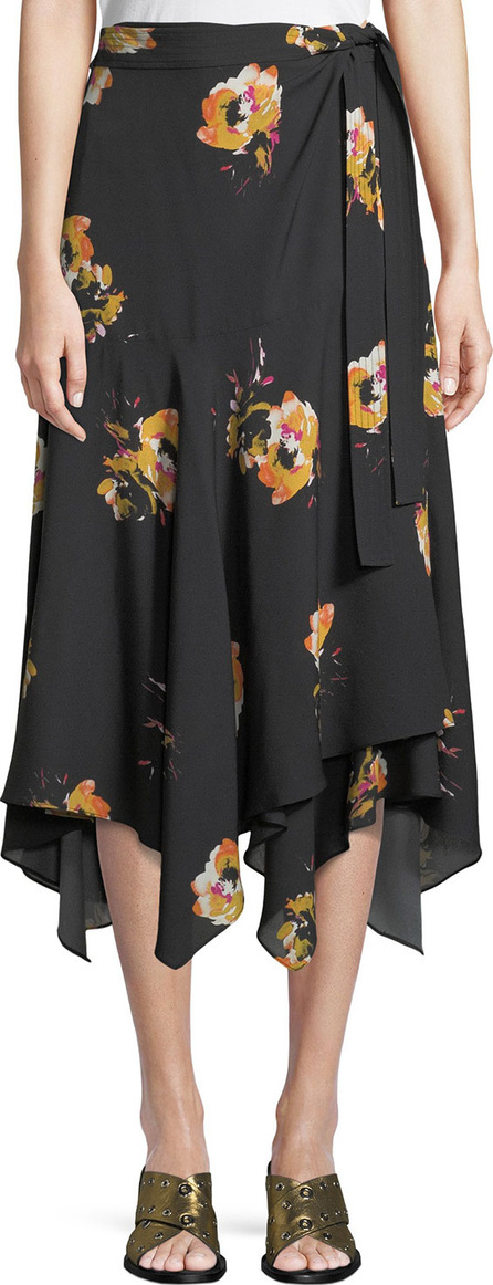 A.L.C. Borden Floral Silk Wrap Midi Skirt