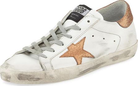 Golden Goose Deluxe Brand Superstar Leather Low-Top Platform Sneaker with Glitter Star