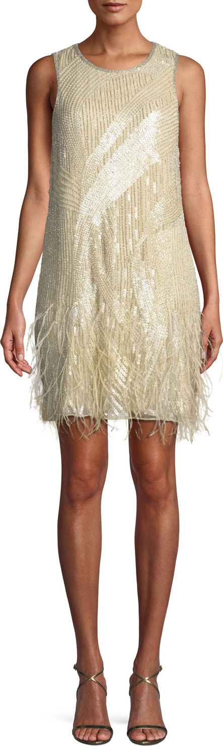 Parker Allegra Sequin Mini Cocktail Dress w/ Feathers