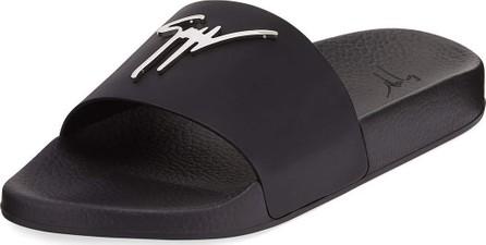 Giuseppe Zanotti Logo Leather Slide Sandal