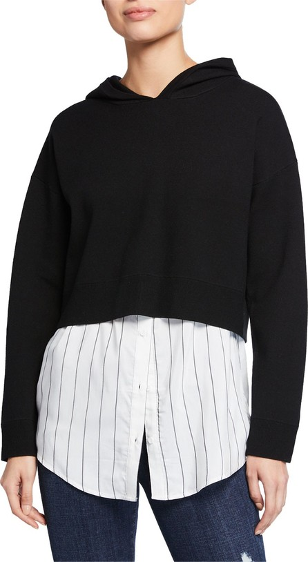 Alice + Olivia Dorma Boxy Hoodie w/ Button-Down Layer