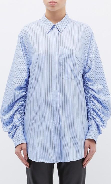 3.1 Phillip Lim Ruched sleeve stripe shirt