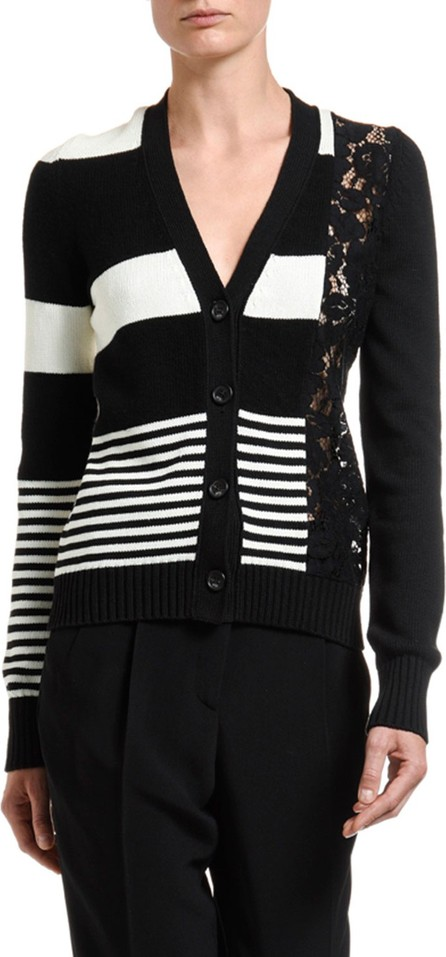 Nº21 Striped Button-Front Cardigan w/ Lace Inset