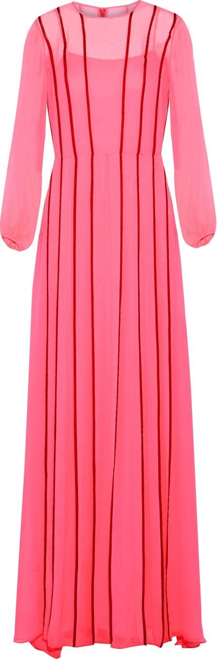 Adam Lippes Satin-trimmed silk-chiffon gown