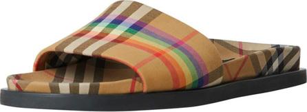 Burberry London England Ashmore Low-Top Rainbow Check Slide Sandal