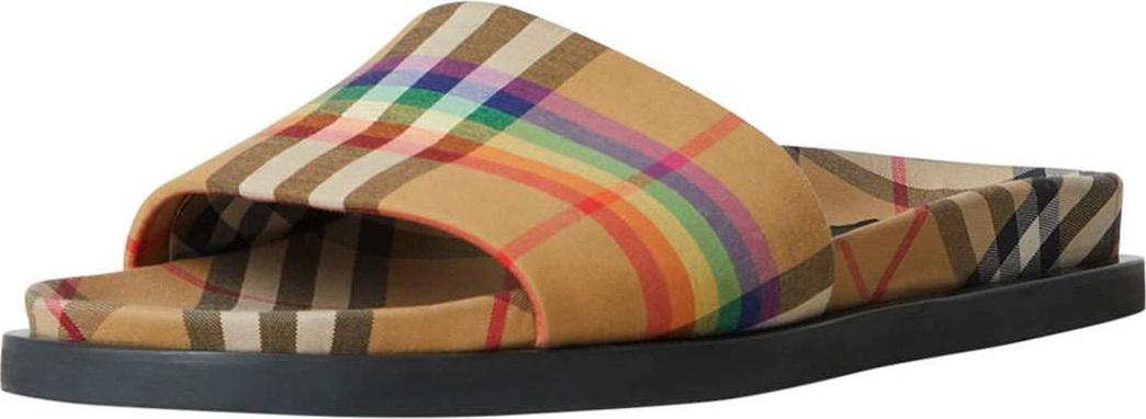 8981accbdc1 Burberry London England Ashmore Low-Top Rainbow Check Slide Sandal - Mkt
