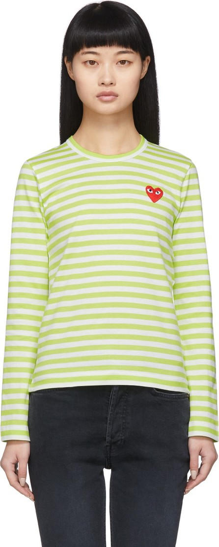 Comme Des Garcons PLAY Green & White Striped Heart Patch Long Sleeve T-Shirt